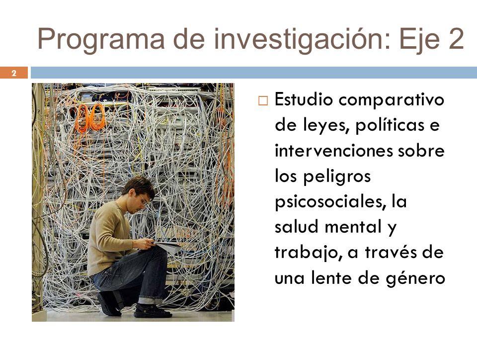 2 Programa de investigación: Eje 2 Estudio comparativo de leyes, políticas e intervenciones sobre los peligros psicosociales, la salud mental y trabajo, a través de una lente de género