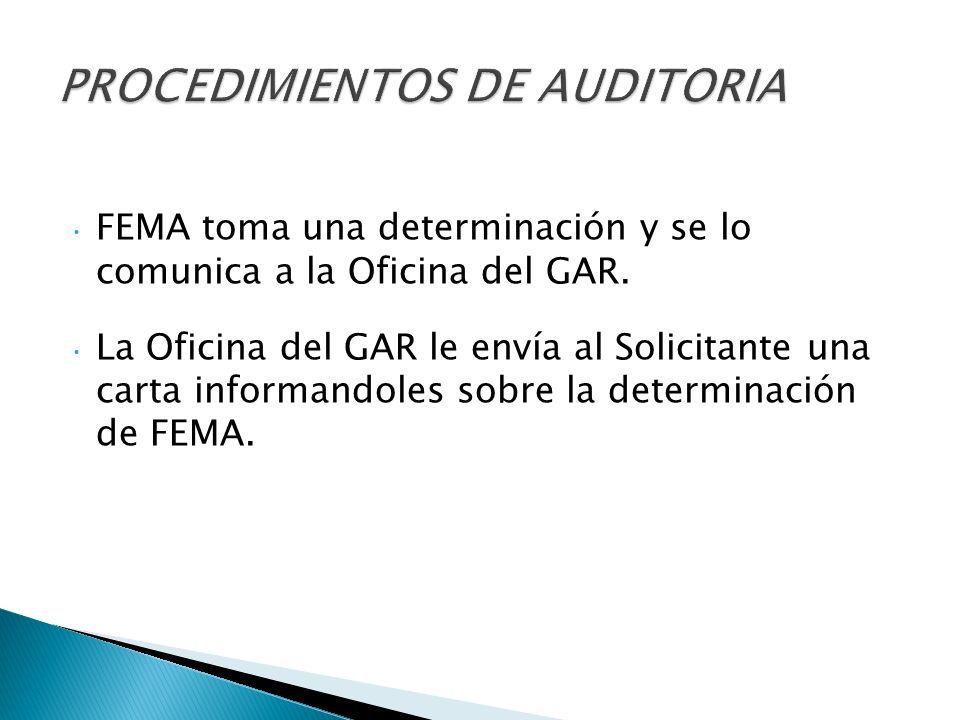 FEMA toma una determinación y se lo comunica a la Oficina del GAR.