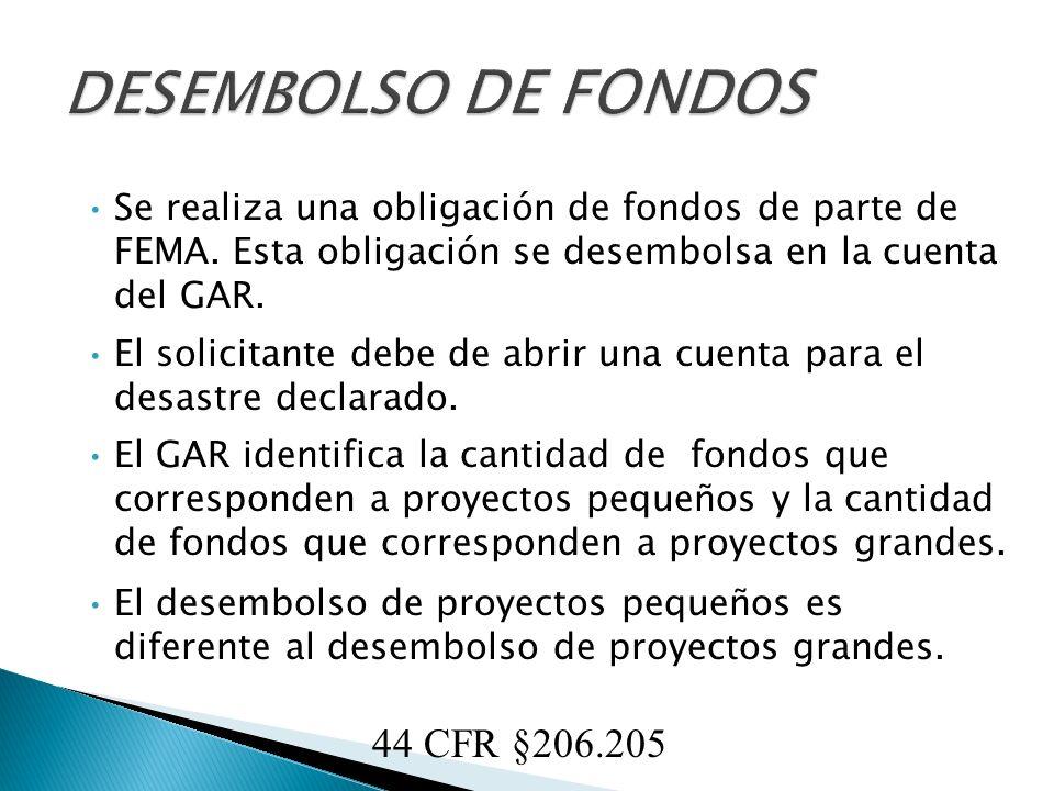 Proyectos Pequeños Se desembolsa en la cuenta del solicitante la cantidad total de los fondos correspondiente de los proyectos pequeños obligados.