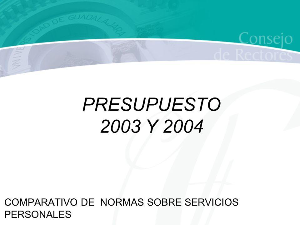 COMPARATIVO DE NORMAS SOBRE SERVICIOS PERSONALES PRESUPUESTO 2003 Y 2004