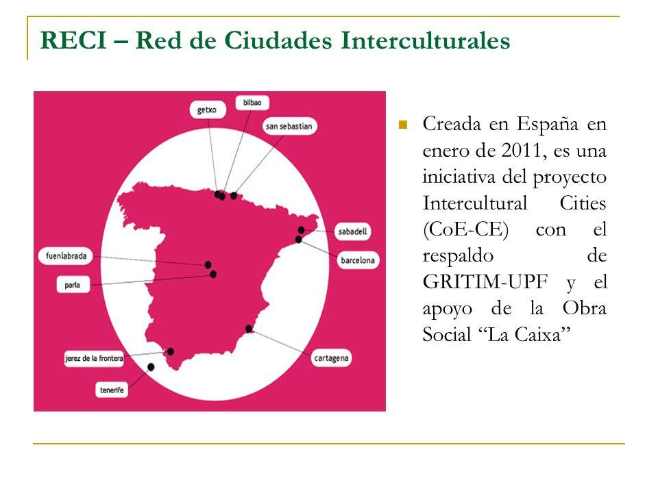 RECI – Red de Ciudades Interculturales Creada en España en enero de 2011, es una iniciativa del proyecto Intercultural Cities (CoE-CE) con el respaldo de GRITIM-UPF y el apoyo de la Obra Social La Caixa