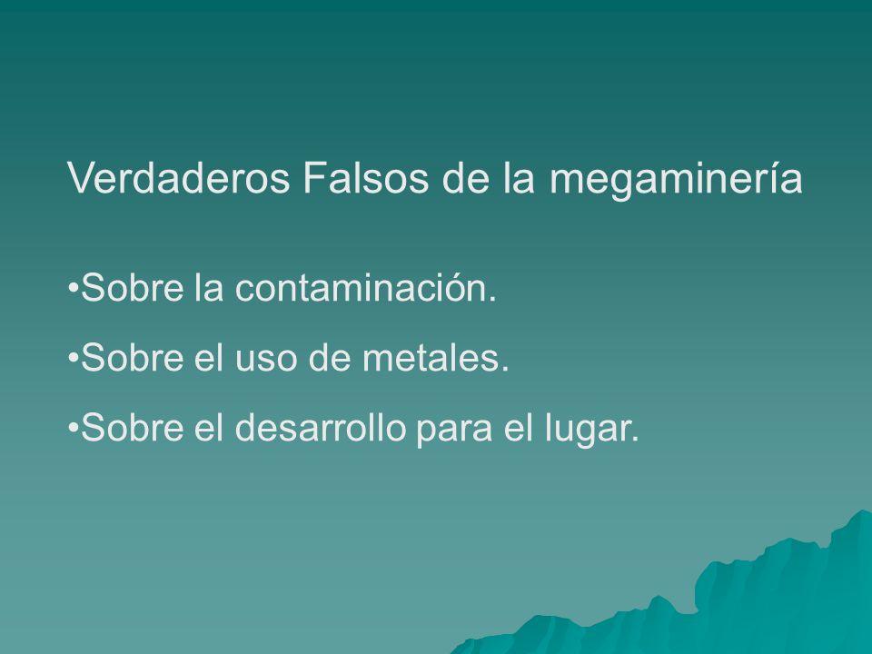 Verdaderos Falsos de la megaminería Sobre la contaminación. Sobre el uso de metales. Sobre el desarrollo para el lugar.