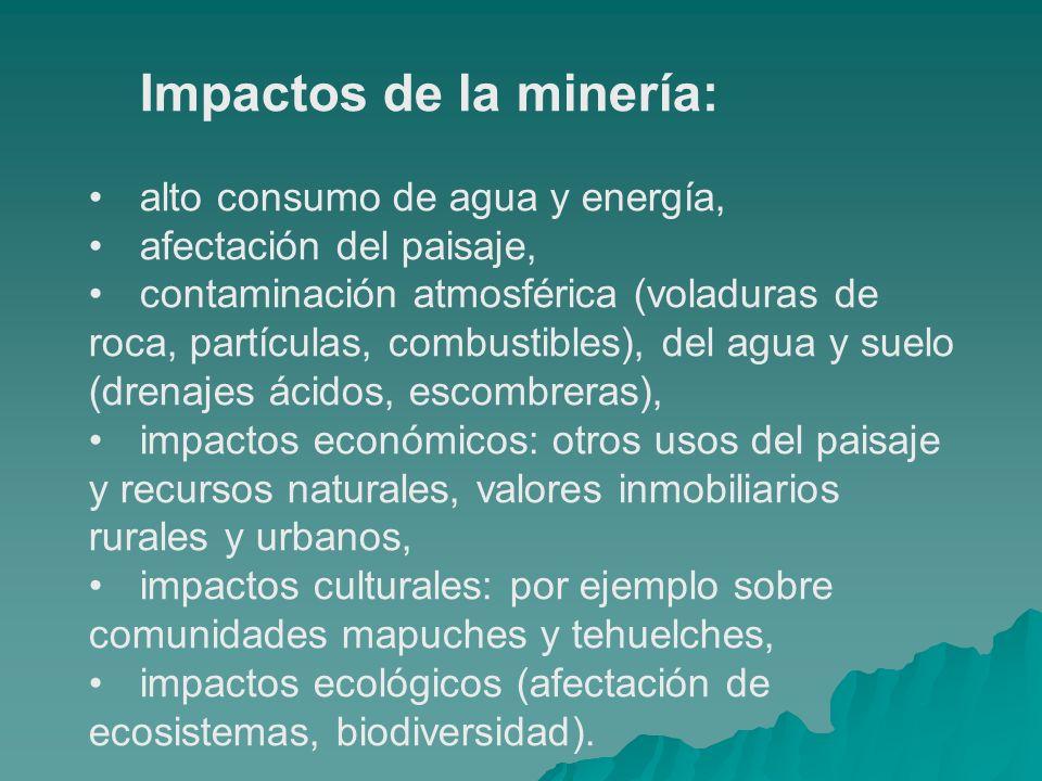 Impactos de la minería: alto consumo de agua y energía, afectación del paisaje, contaminación atmosférica (voladuras de roca, partículas, combustibles