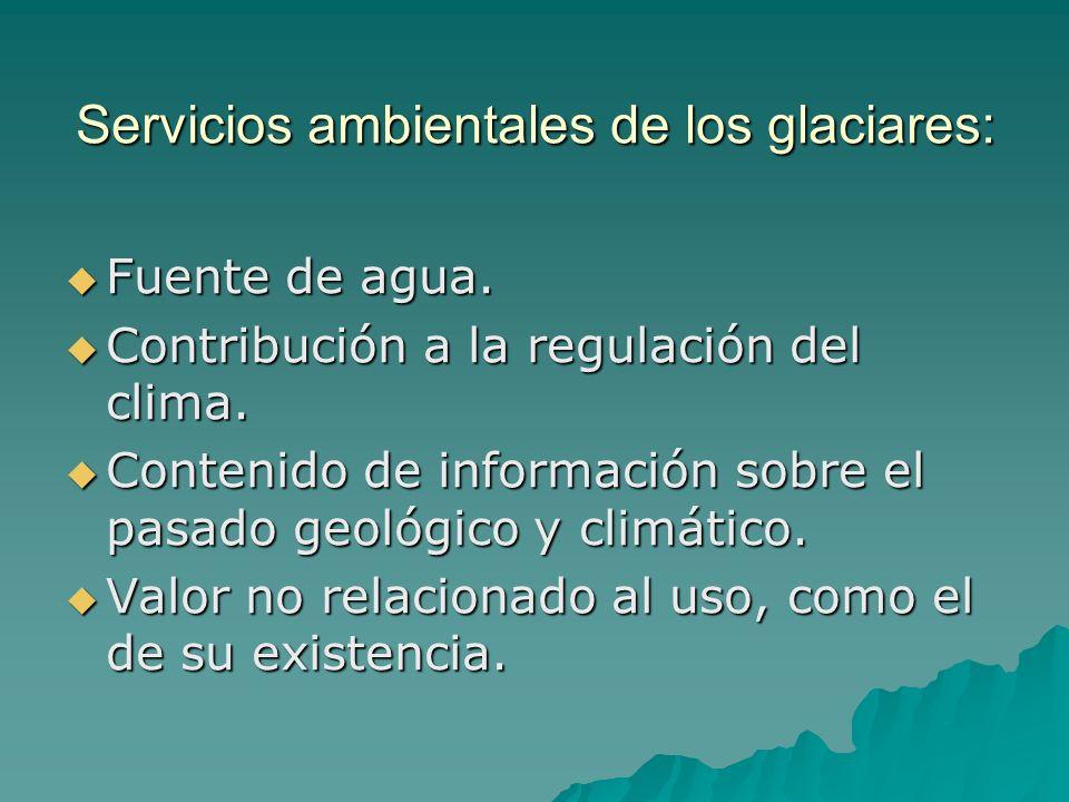 Servicios ambientales de los glaciares: Fuente de agua. Fuente de agua. Contribución a la regulación del clima. Contribución a la regulación del clima