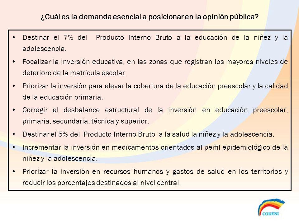 ¿Cuál es la demanda esencial a posicionar en la opinión pública? Destinar el 7% del Producto Interno Bruto a la educación de la niñez y la adolescenci