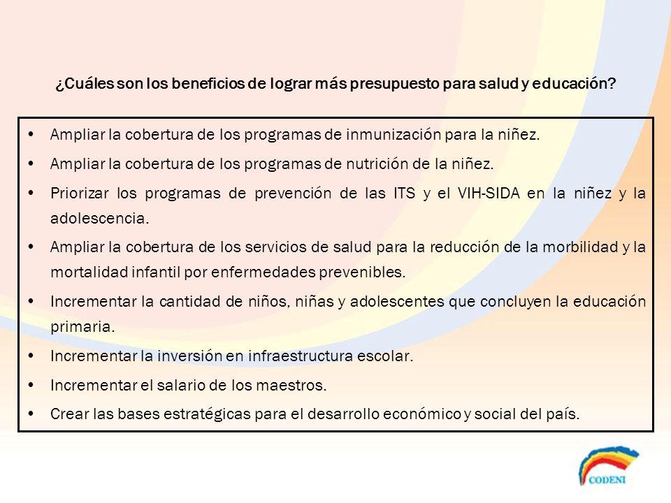 ¿Cuáles son los beneficios de lograr más presupuesto para salud y educación? Ampliar la cobertura de los programas de inmunización para la niñez. Ampl