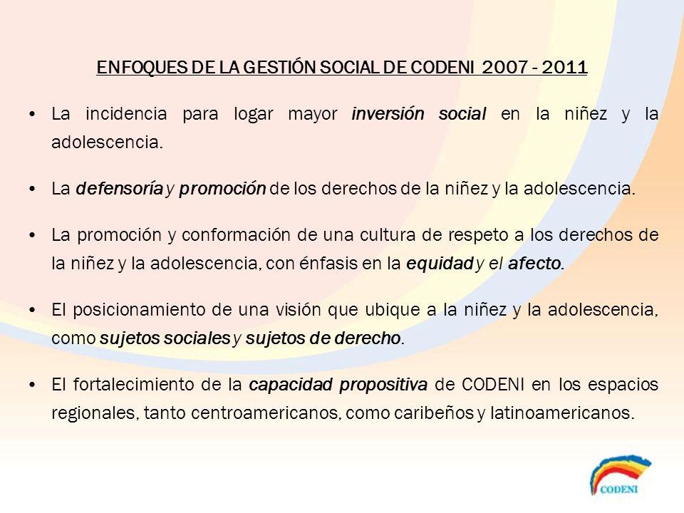 ENFOQUES DE LA GESTIÓN SOCIAL DE CODENI 2007 - 2011 La incidencia para logar mayor inversión social en la niñez y la adolescencia. La defensoría y pro