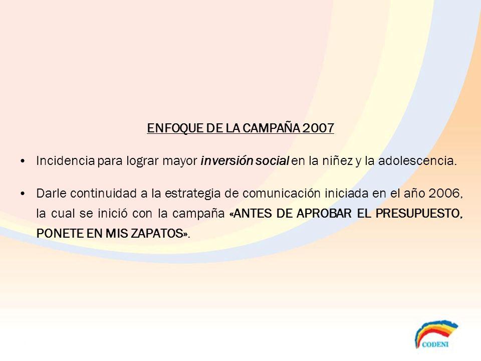 ENFOQUE DE LA CAMPAÑA 2007 Incidencia para lograr mayor inversión social en la niñez y la adolescencia. Darle continuidad a la estrategia de comunicac