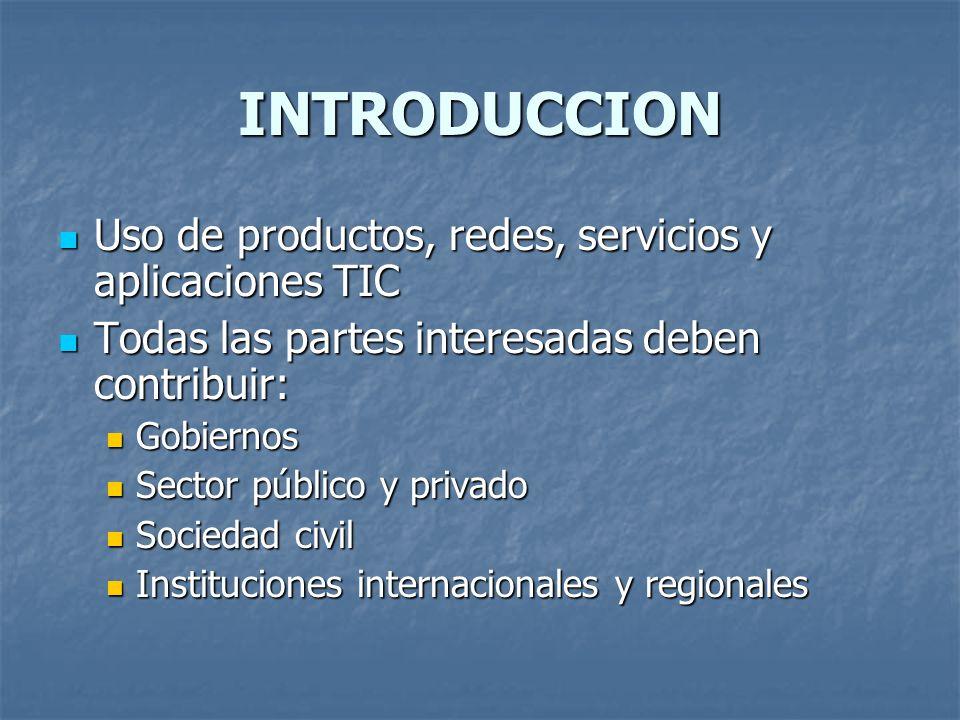 INTRODUCCION Uso de productos, redes, servicios y aplicaciones TIC Uso de productos, redes, servicios y aplicaciones TIC Todas las partes interesadas