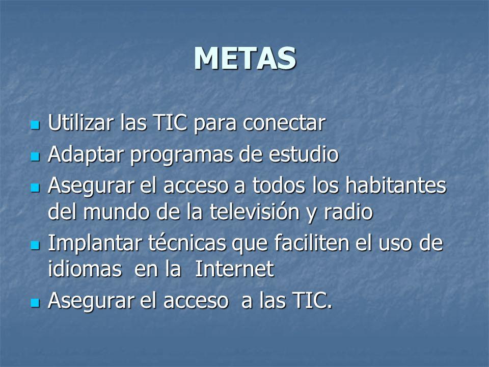 METAS Utilizar las TIC para conectar Utilizar las TIC para conectar Adaptar programas de estudio Adaptar programas de estudio Asegurar el acceso a tod