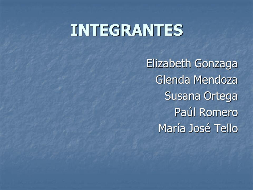 INTEGRANTES Elizabeth Gonzaga Glenda Mendoza Susana Ortega Paúl Romero María José Tello