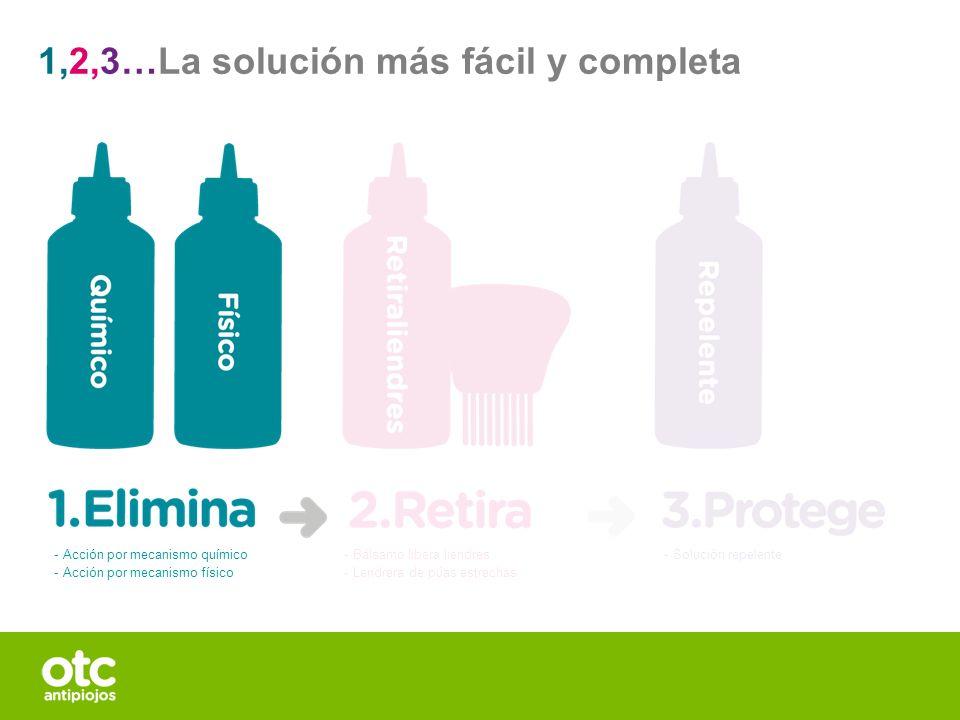 1,2,3…La solución más fácil y completa - Bálsamo libera liendres - Lendrera de púas estrechas - Solución repelente - Acción por mecanismo químico - Ac