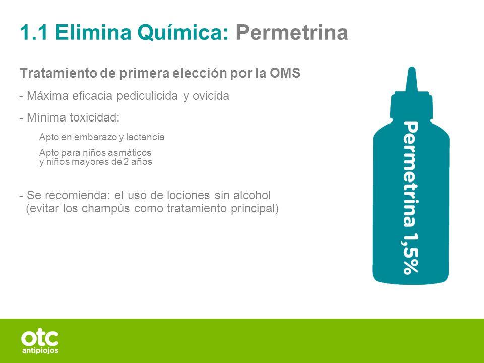 Tratamiento de primera elección por la OMS - Máxima eficacia pediculicida y ovicida - Mínima toxicidad: Apto en embarazo y lactancia Apto para niños a