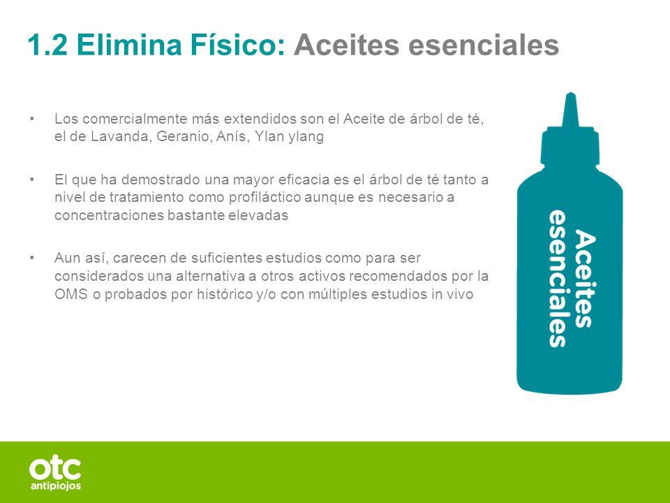 1.2 Elimina Físico: Aceites esenciales Los comercialmente más extendidos son el Aceite de árbol de té, el de Lavanda, Geranio, Anís, Ylan ylang El que