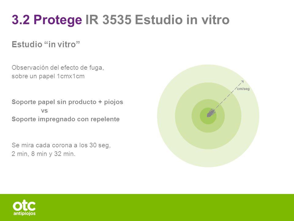 3.2 Protege IR 3535 Estudio in vitro Estudio in vitro Observación del efecto de fuga, sobre un papel 1cmx1cm Soporte papel sin producto + piojos vs So