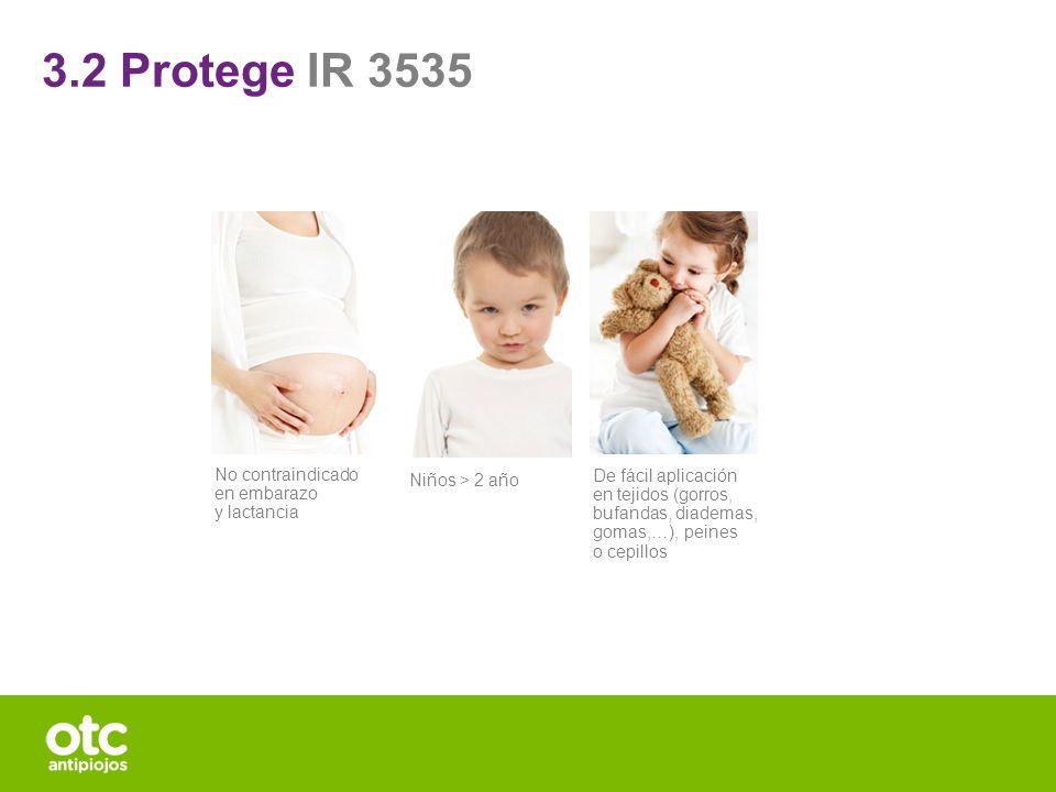 De fácil aplicación en tejidos (gorros, bufandas, diademas, gomas,…), peines o cepillos No contraindicado en embarazo y lactancia Niños > 2 año