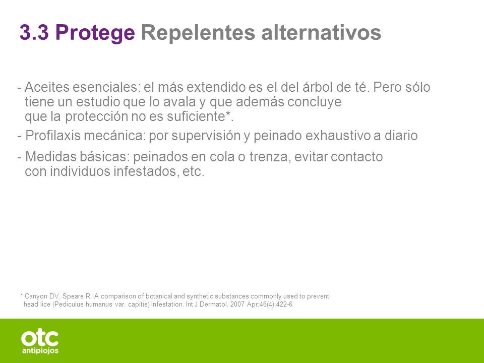 3.3 Protege Repelentes alternativos - Aceites esenciales: el más extendido es el del árbol de té. Pero sólo tiene un estudio que lo avala y que además