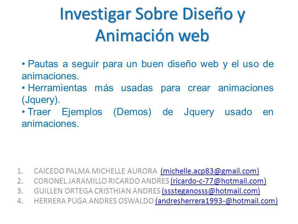 Investigar Sobre Diseño y Animación web 1.CAICEDO PALMA MICHELLE AURORA (michelle.acp83@gmail.com)(michelle.acp83@gmail.com) 2.CORONEL JARAMILLO RICAR