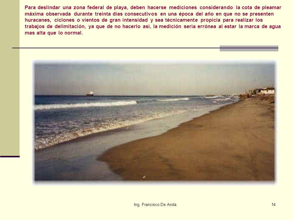 Ing. Francisco De Anda13 Considerando la cota de pleamar máxima observada durante treinta días consecutivos en una época del año en que no se presente