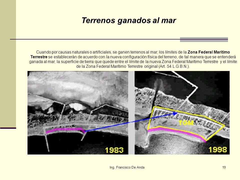 Ing. Francisco De Anda18 Terrenos Ganados al Mar: Se obtienen cuando por causas naturales o artificiales se rellena o azolva una parte de la costa y s