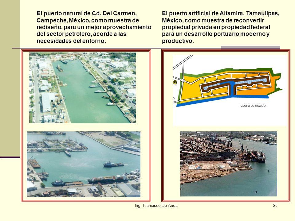 Ing. Francisco De Anda19 Terrenos ganados al mar Cuando por causas naturales o artificiales, se ganen terrenos al mar, los límites de la Zona Federal