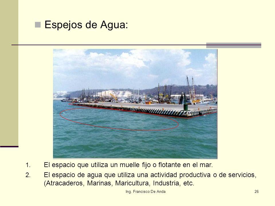 Ing. Francisco De Anda25 4.- ¿Y el mar, o espejos de agua? El mar en sí, dentro de los límites nacionales es zona federal y toda actividad económica e