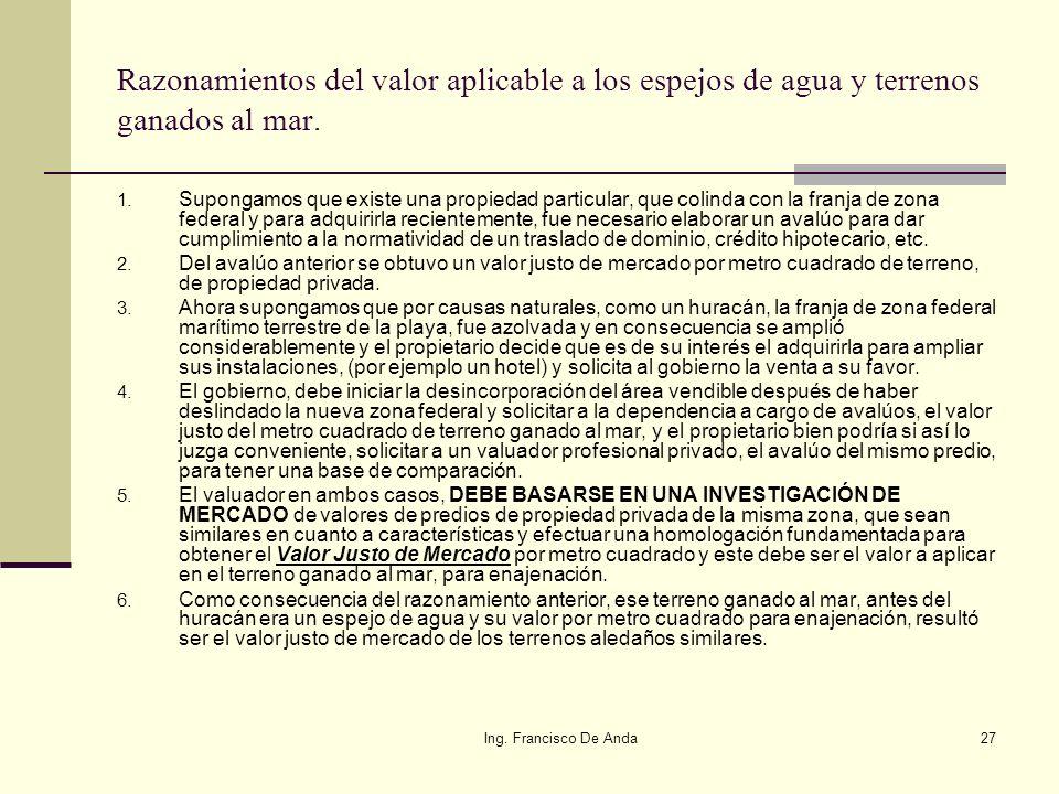 Ing. Francisco De Anda26 Espejos de Agua: 1. El espacio que utiliza un muelle fijo o flotante en el mar. 2. El espacio de agua que utiliza una activid