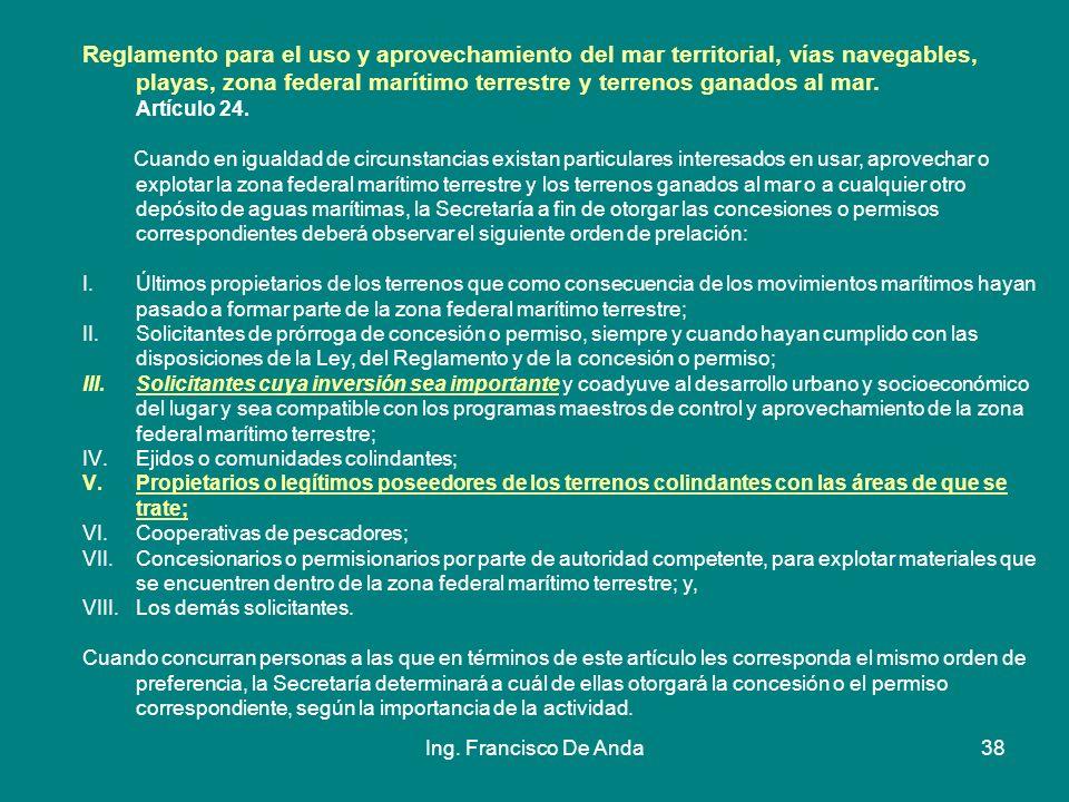 Ing. Francisco De Anda37 Por lo anterior, es importante que cuando se tengan planes para llevar acabo proyectos de los cuales se requiera tener una co