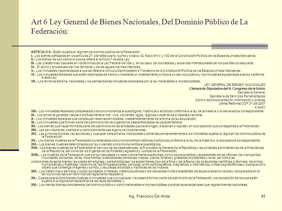 Ing. Francisco De Anda44 Quienes intervienen en ZOFEMAT? ZOFEMAT LEY GENERAL DE BIENES NACIONALESLEY FEDERAL DE DERECHOS SEMARNAT Reglamento para el u