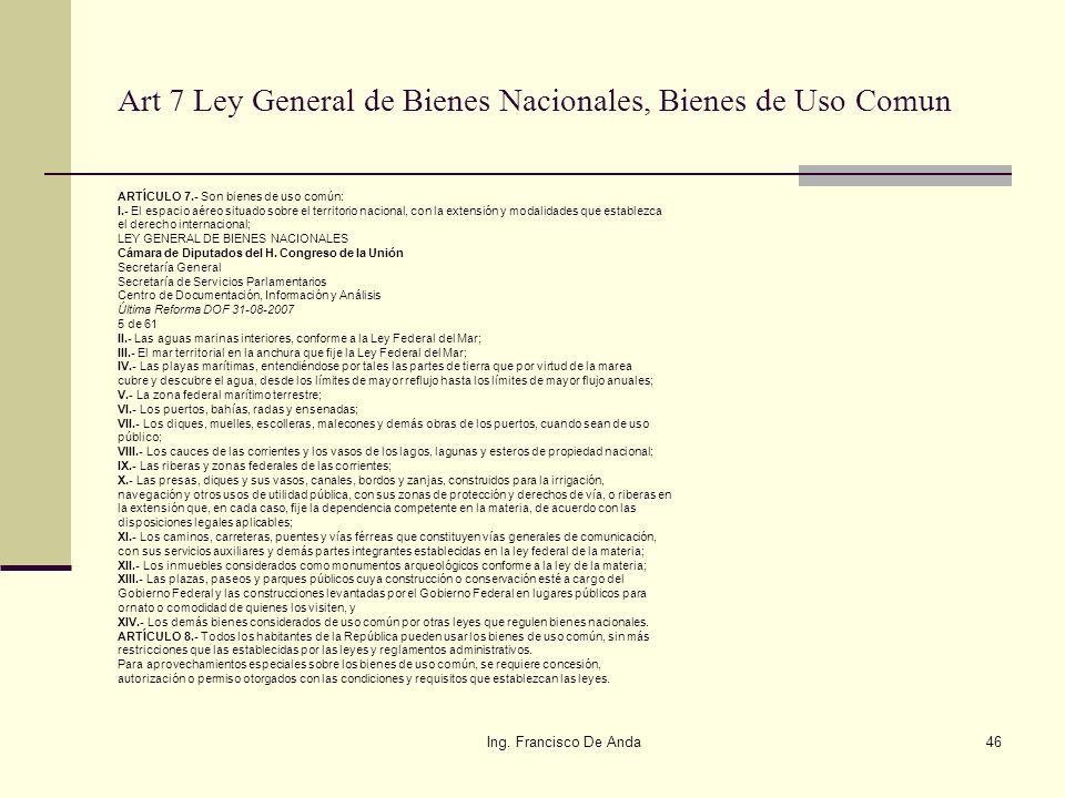 Ing. Francisco De Anda45 Art 6 Ley General de Bienes Nacionales, Del Dominio Público de La Federación: ARTÍCULO 6.- Están sujetos al régimen de domini