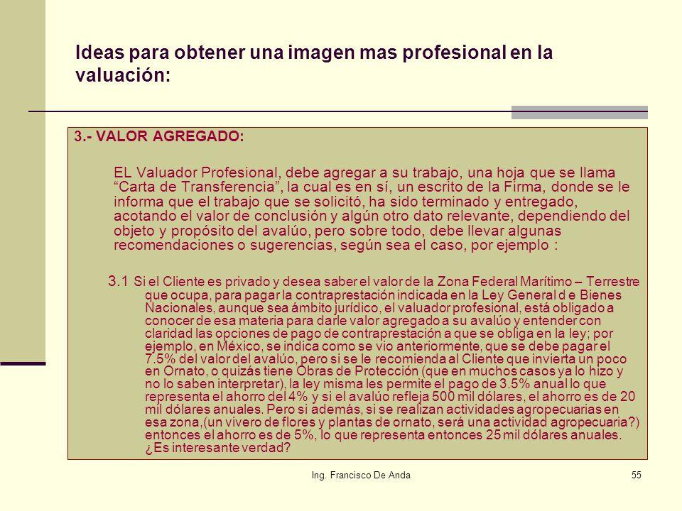 Ing. Francisco De Anda54 Ideas para obtener una imagen mas profesional en la valuación: 2.- CONTENIDO: El estándar Internacional conocido como ISO 900