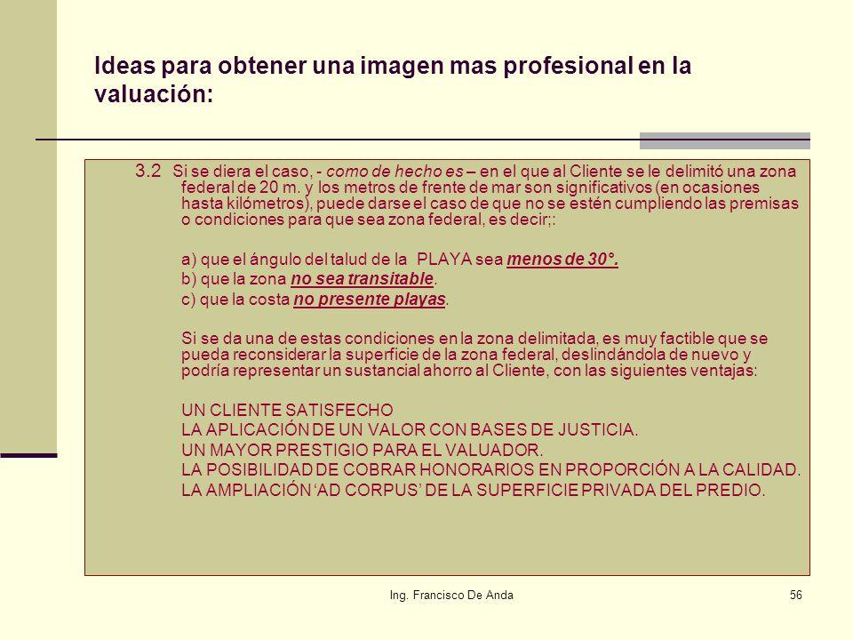 Ing. Francisco De Anda55 Ideas para obtener una imagen mas profesional en la valuación: 3.- VALOR AGREGADO: EL Valuador Profesional, debe agregar a su