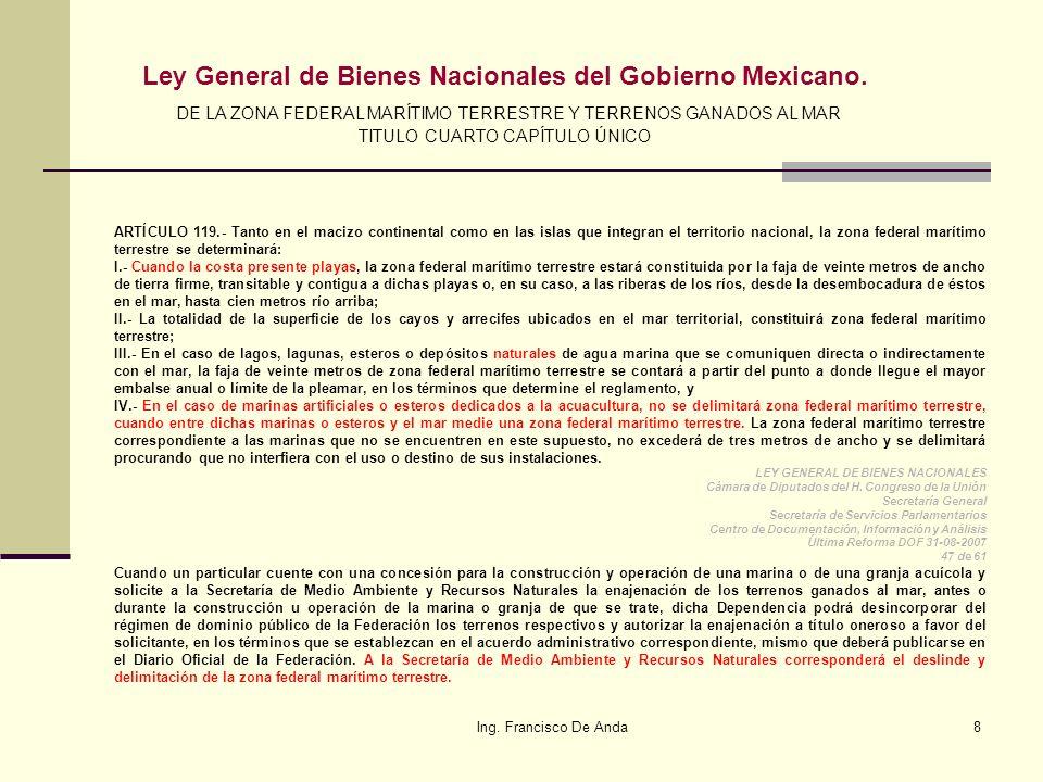 Ing.Francisco De Anda48 Artículo 42.- El territorio nacional comprende: I.