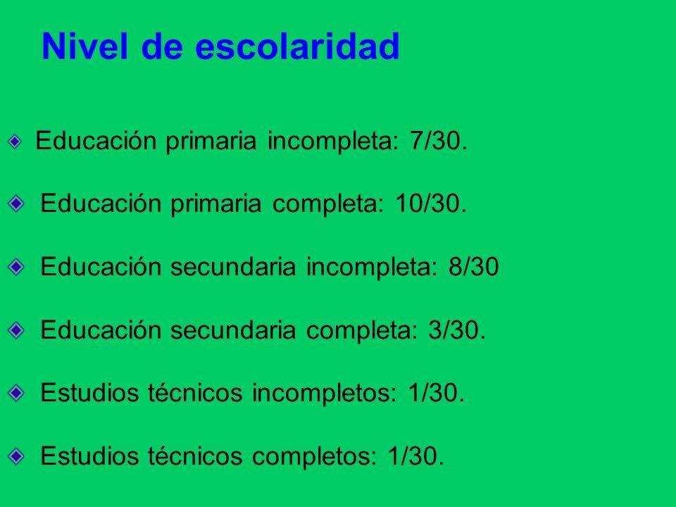 Educación primaria incompleta: 7/30. Educación primaria completa: 10/30. Educación secundaria incompleta: 8/30 Educación secundaria completa: 3/30. Es