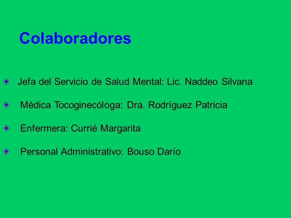 Colaboradores Jefa del Servicio de Salud Mental: Lic. Naddeo Silvana Médica Tocoginecóloga: Dra. Rodríguez Patricia Enfermera: Currié Margarita Person