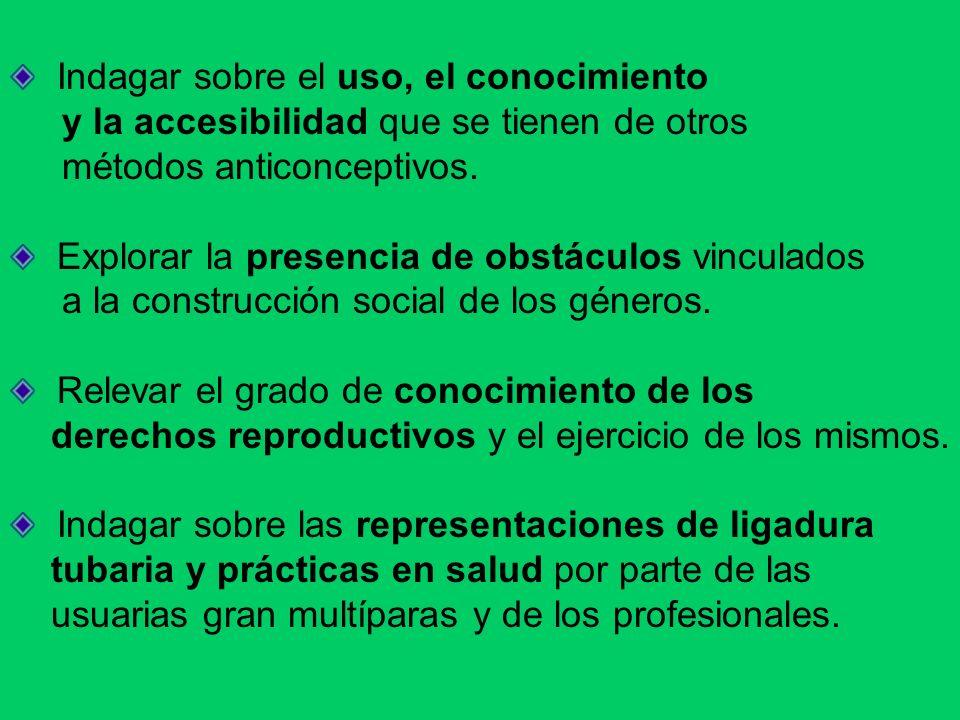 Indagar sobre el uso, el conocimiento y la accesibilidad que se tienen de otros métodos anticonceptivos. Explorar la presencia de obstáculos vinculado