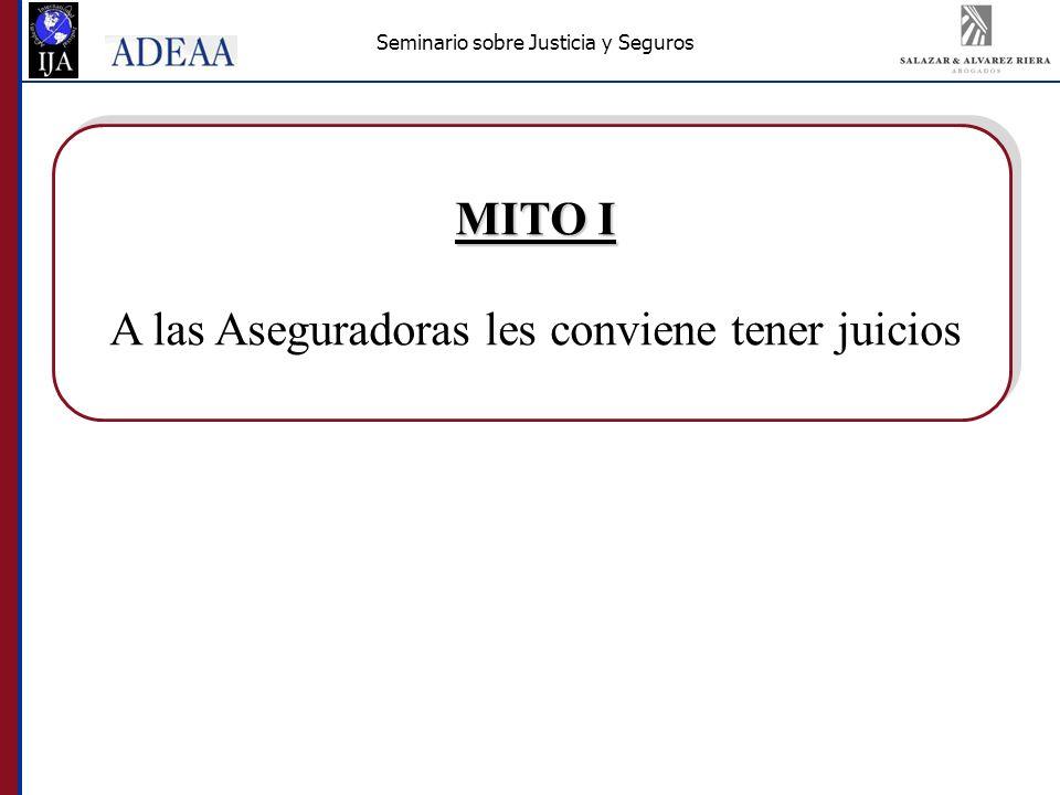 Seminario sobre Justicia y Seguros MITO I A las Aseguradoras les conviene tener juicios