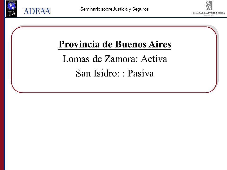 Seminario sobre Justicia y Seguros Provincia de Buenos Aires Lomas de Zamora: Activa San Isidro: : Pasiva