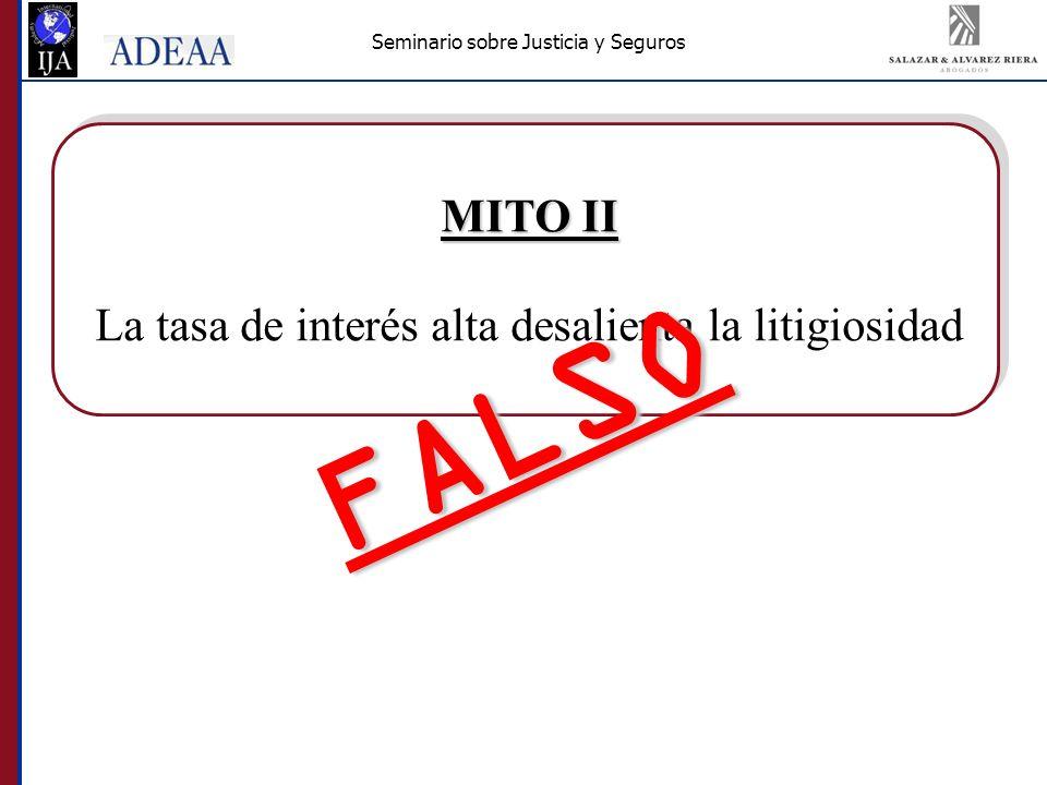 Seminario sobre Justicia y Seguros MITO II La tasa de interés alta desalienta la litigiosidad FALSO