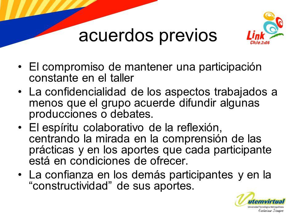 acuerdos previos El compromiso de mantener una participación constante en el taller La confidencialidad de los aspectos trabajados a menos que el grup