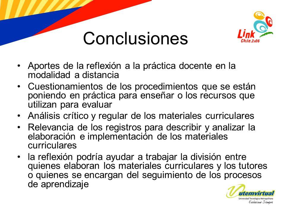 Conclusiones Aportes de la reflexión a la práctica docente en la modalidad a distancia Cuestionamientos de los procedimientos que se están poniendo en
