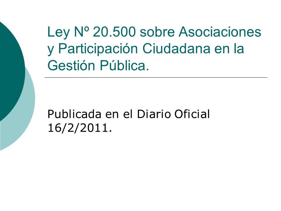 Contenidos: 1) Historia de la Ley.2) Derecho de asociación y principio participativo.