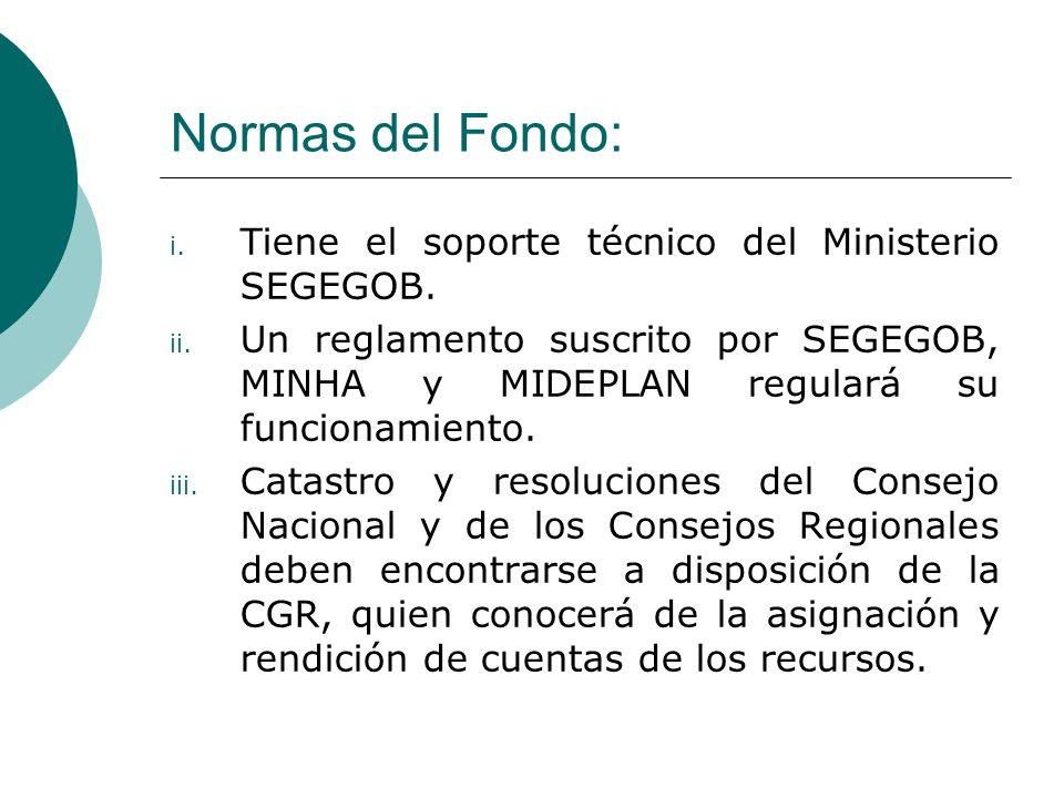 Normas del Fondo: i.Tiene el soporte técnico del Ministerio SEGEGOB.