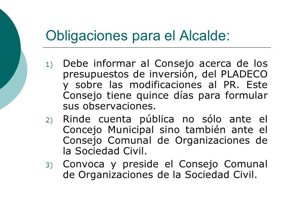 Obligaciones para el Alcalde: 1) Debe informar al Consejo acerca de los presupuestos de inversión, del PLADECO y sobre las modificaciones al PR.