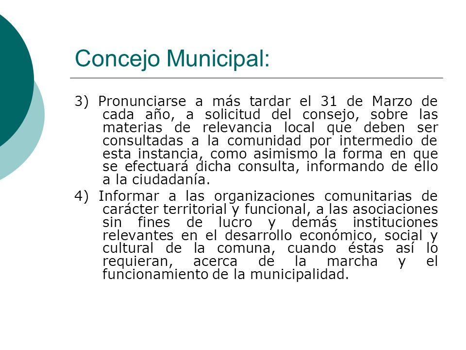 Concejo Municipal: 3) Pronunciarse a más tardar el 31 de Marzo de cada año, a solicitud del consejo, sobre las materias de relevancia local que deben ser consultadas a la comunidad por intermedio de esta instancia, como asimismo la forma en que se efectuará dicha consulta, informando de ello a la ciudadanía.