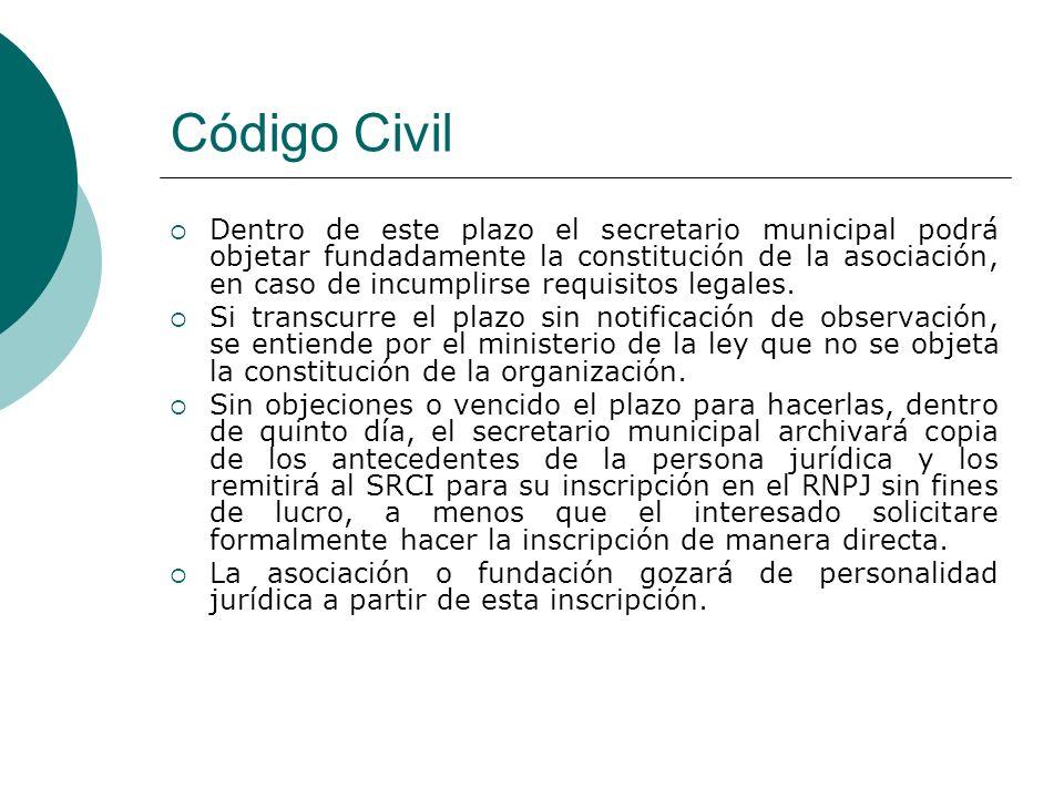 Código Civil Dentro de este plazo el secretario municipal podrá objetar fundadamente la constitución de la asociación, en caso de incumplirse requisitos legales.
