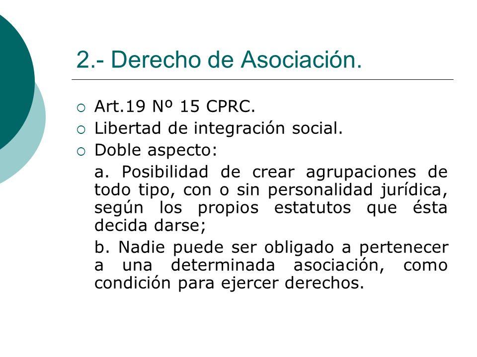 2.- Derecho de Asociación.Art.19 Nº 15 CPRC. Libertad de integración social.