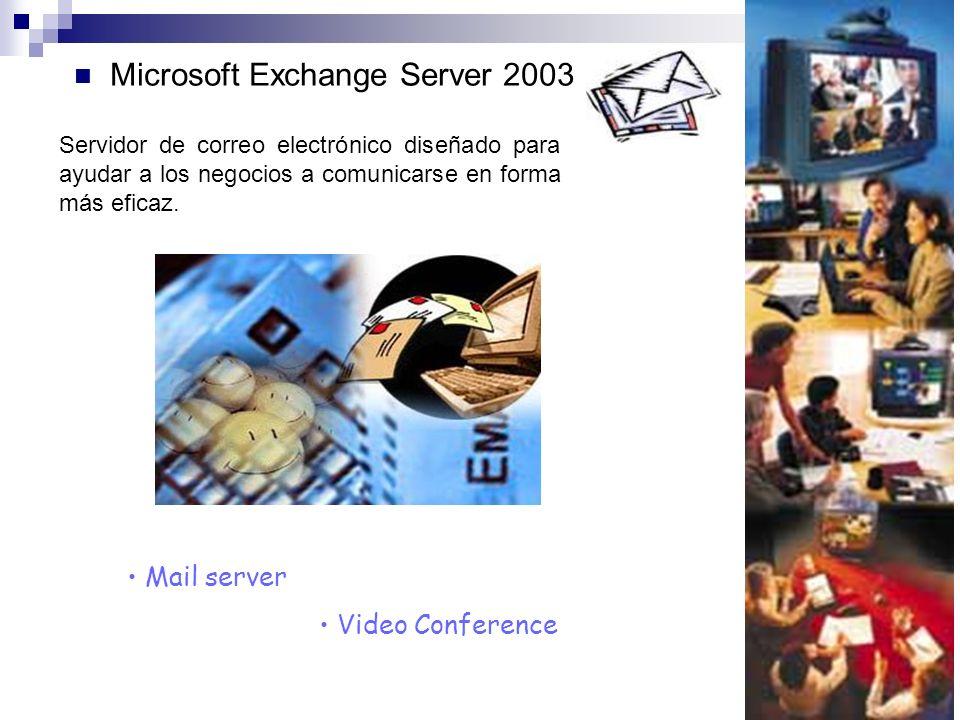 Microsoft Exchange Server 2003 Mail server Video Conference Servidor de correo electrónico diseñado para ayudar a los negocios a comunicarse en forma más eficaz.