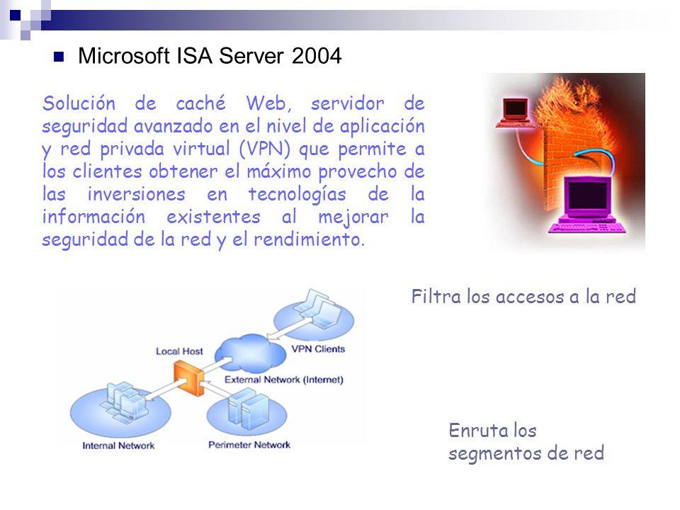Microsoft ISA Server 2004 Filtra los accesos a la red Enruta los segmentos de red Solución de caché Web, servidor de seguridad avanzado en el nivel de aplicación y red privada virtual (VPN) que permite a los clientes obtener el máximo provecho de las inversiones en tecnologías de la información existentes al mejorar la seguridad de la red y el rendimiento.