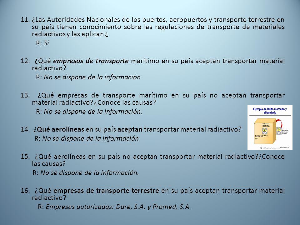 11. ¿Las Autoridades Nacionales de los puertos, aeropuertos y transporte terrestre en su país tienen conocimiento sobre las regulaciones de transporte